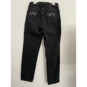 black mom jeans w/ white flame embroidery